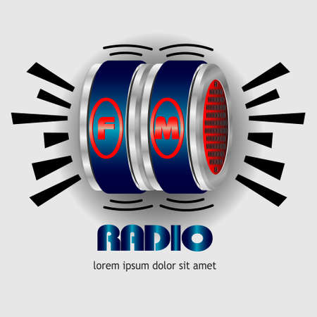 fm: fm radio 3d box Illustration