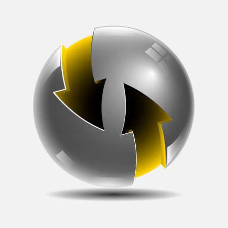 stell: Ball arrows yellow stell Illustration