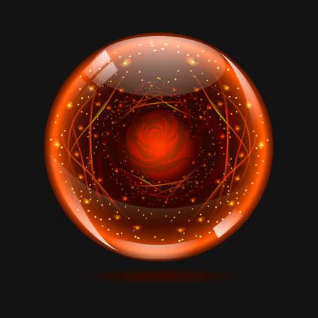 button: ball sphere color orange rose