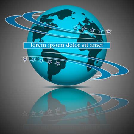 Globe blue stars eps10