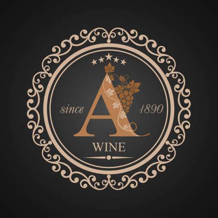 Wine grapes vine letter a logo design. Фото со стока - 85164681