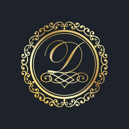 monogram letter d gold eps8