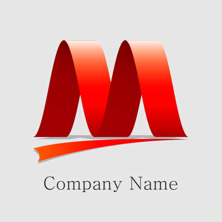 m letter logo ribbon eps10 Ilustracja