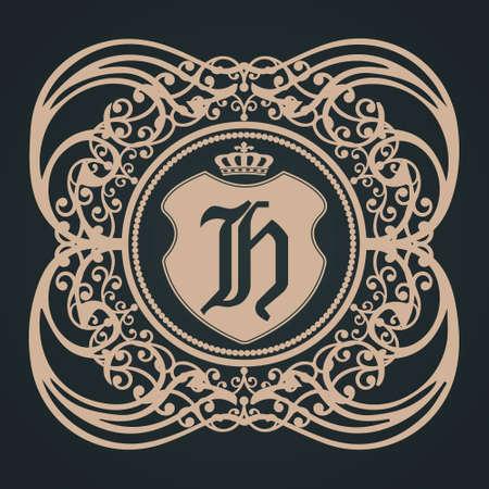 Letter h Gothic lettering. Vektoros illusztráció