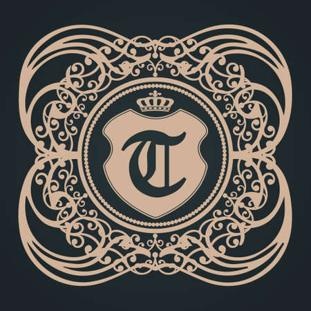 letter t gothic shield monogram eps8