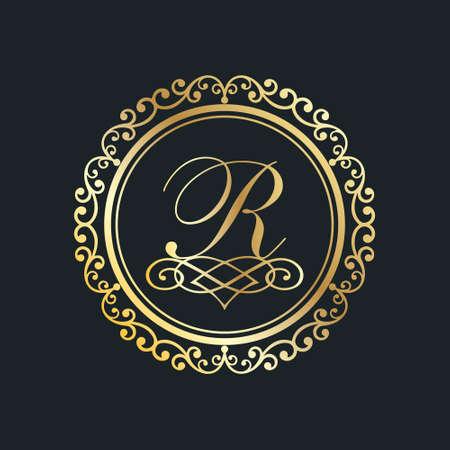 Monogram letter R gold