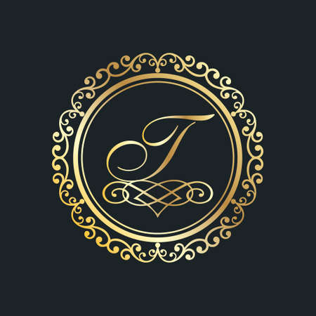 Monogram letter T gold eps8