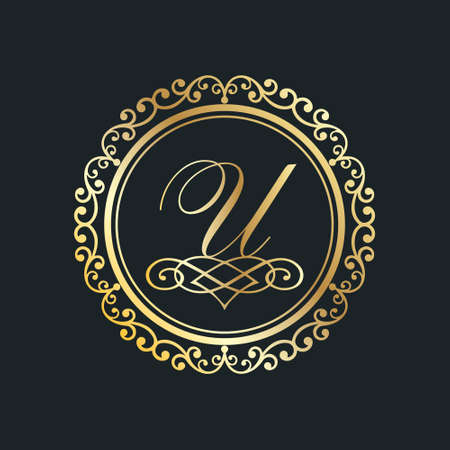Monogram letter U gold eps8