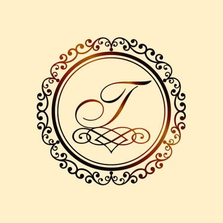 Monogram letter T bronze eps8