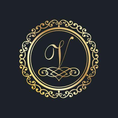 Monogram letter V gold eps8