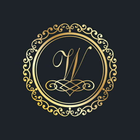 Monogram letter W gold eps8