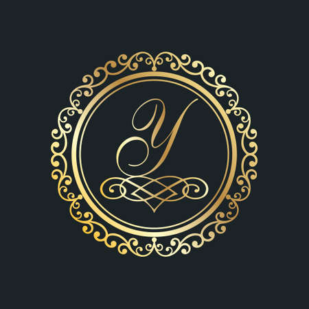 Monogram letter Y gold eps8