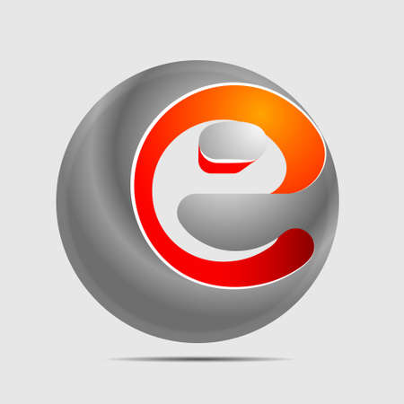 Letter e in a grey ball Vector illustration.