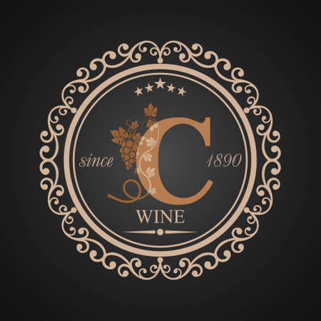 Wine grapes in letter c icon.