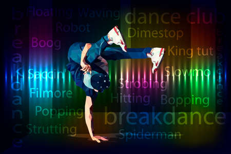 dancer breakdancer polygonal image with an abstract background eps10 Illusztráció