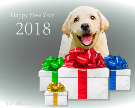 Dog puppy gift ribbon heppy new year 2018
