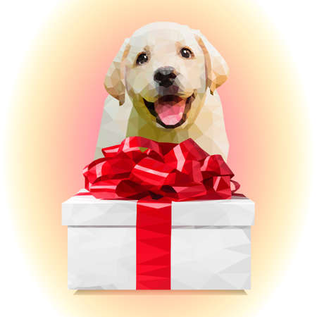 Dog puppy and a gift with red ribbon.