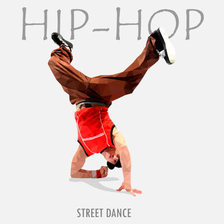 dancer hip-hop polygonal image with an abstract background eps10