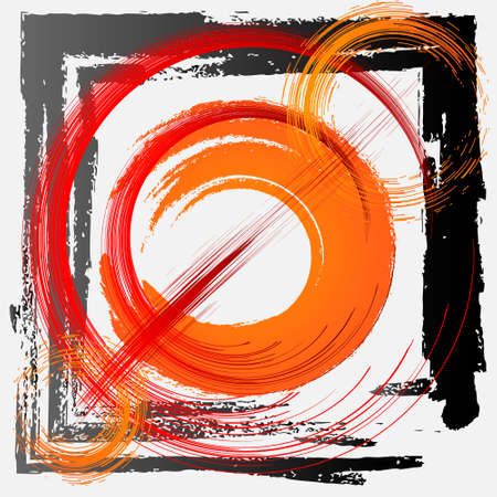 abstract background red and orange color with black frame. Illusztráció