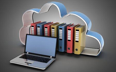 3d laptop cloud and folders. 3d illustration