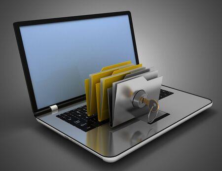 3d office folder and key on laptop. 3d illustration