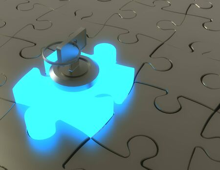 3d key and puzzle pieces .3d illustration Stockfoto
