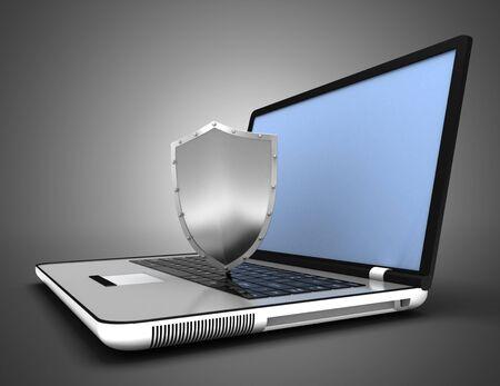 Laptop security concept. 3d illustration