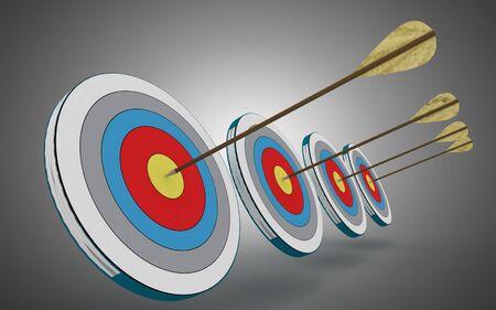 Pfeiltreffer in der Mitte des Ziels. 3D-Darstellung
