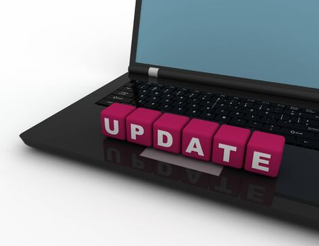 Update text concept, lettered  cubes on notebook computer- 3D rendered illustration.