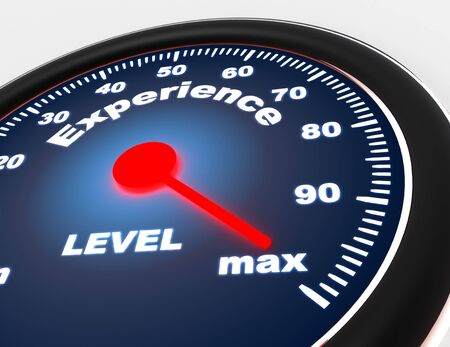 Speedometer concept on white background with experience word. 3d rendered illustration