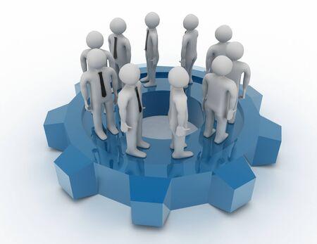 human team group move . teamwork concept . 3d rendered illustration