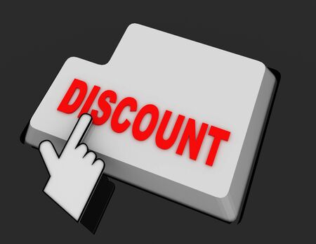 Hand Mouse Cursor Clicks the discount Button. 3d  rendered illustration
