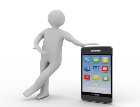 man with smart phone . 3d rendered illustration