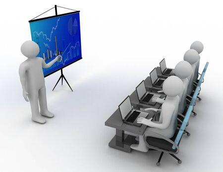 3D white . Business workshop . 3d rendered illustration