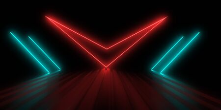 3D abstract background with neon lights. checkmark concept .3d illustration