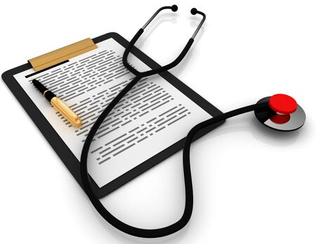 Stethoscope And Medical Records . 3d rendered illustration
