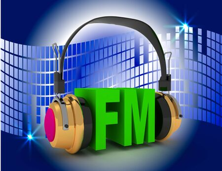 3d rendering of Head phone with FM . 3d rendered illustration