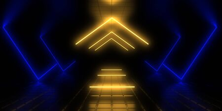 3D abstract background with neon lights. 3d illustration Фото со стока