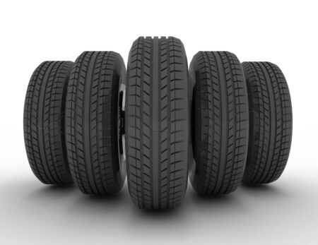 Group of automotive tires . 3d rendered illustration