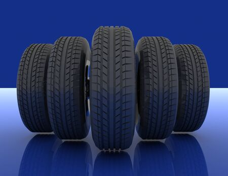 Group of automotive tires . 3d rendered illustration