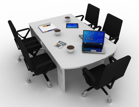 Office meeting room concept . 3d rendered illustration