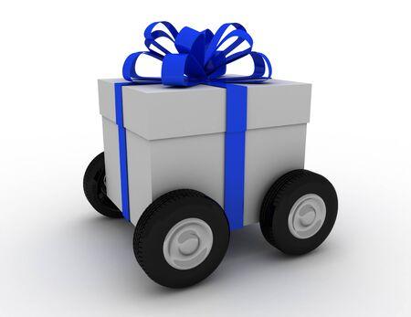 Gift box on wheels . 3D rendered illustration Reklamní fotografie