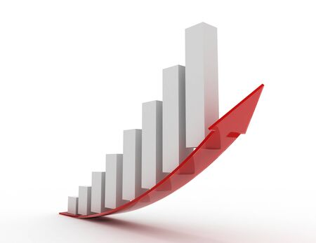 Growing bar chart with arrow . 3d rendered illustration 스톡 콘텐츠