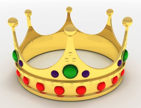 Gold crown isolated . 3d rendered illustration Foto de archivo
