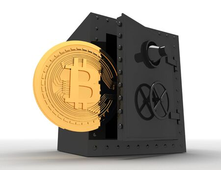 metal safe and bitcoin . 3d rendered illustration Stockfoto