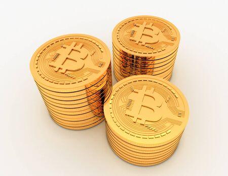 3D-Bitcoins-Konzept .3D gerenderte Darstellung