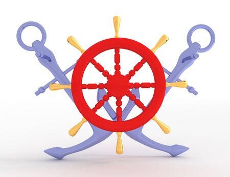 Ship wheel and anchors. 3d rendered illusration