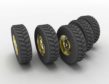 3D rendering truck tires concept. 3d rendedred illustration Stockfoto