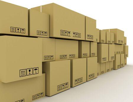3D concept a lot of cardboard boxes . 3d rendered illustration