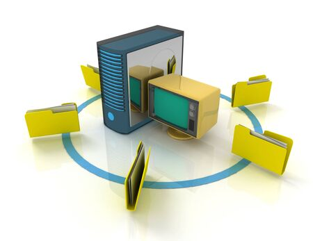 3d rendering of Server with file folder. 3D rendered illustration